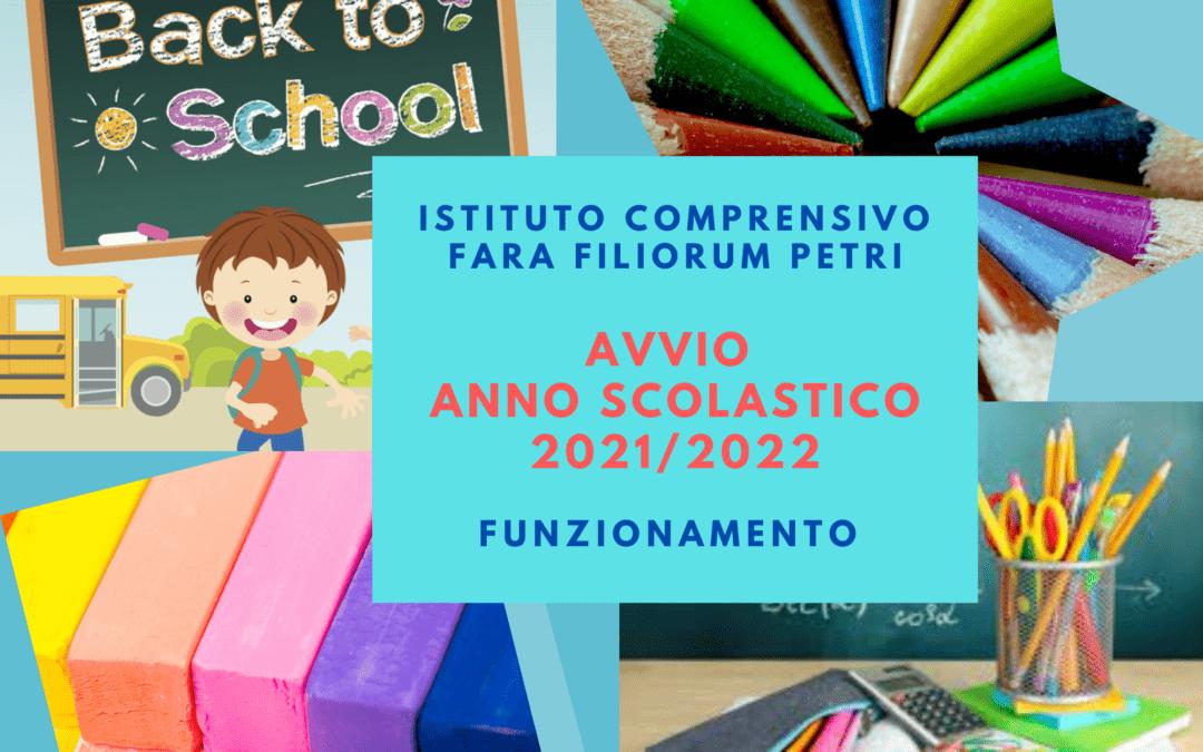 AVVIO A.S. 2021-22 FUNZIONAMENTO